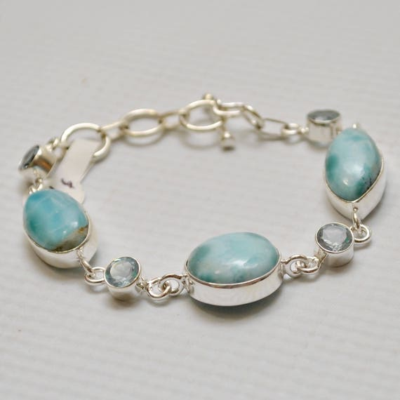 Sterling Silver Three Stone Larimar with Topaz Bracelet #7141