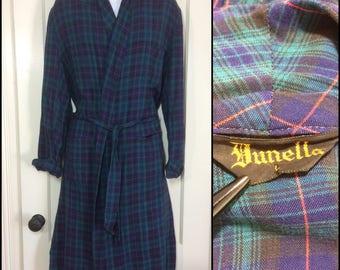 1950s Plaid Rayon Smoking Jacket Robe size large dark Blue Green red by Dunella rockabilly loungewear