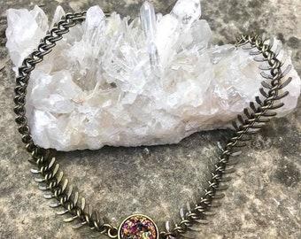 Druzy fishbone choker necklace