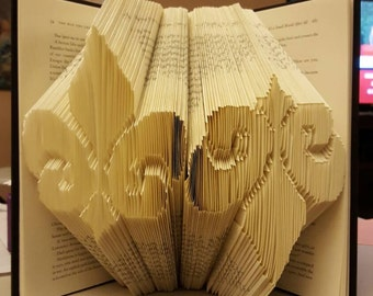 Folded Book Art - Double Fleur-de-lis Made to Order