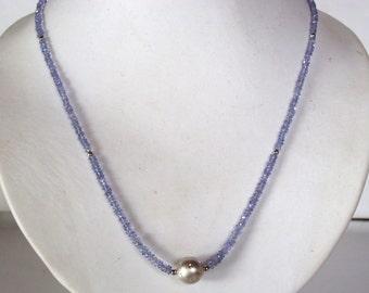 Delicate tanzanite Necklace - blue necklace- statement necklace - silver necklace - something blue - bridal necklace -