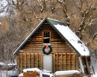 Christmas Barn Fine Art Photo, Country Decor, Farm Decor