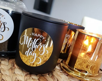 Happy Mother's Day Soy Candle - Black & Gold, Pink Candle, Best Mum Candle - Mothers Day Gift Idea