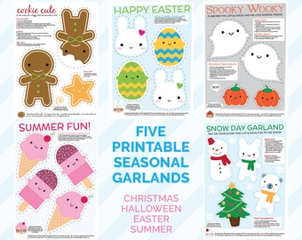 FIVE seasonal printable garlands - kawaii Christmas, Halloween, Easter, Summer & Winter