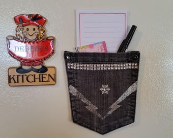 Magnetic Refrigerator Pocket - Upcycled jeans pocket Note holder with notepad