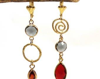 Asymmetrical earrings, mismatched dangle earrings, Mismatched Earrings,Gold red earrings, Wedding Jewelry, bridal earrings, Unique earrings,