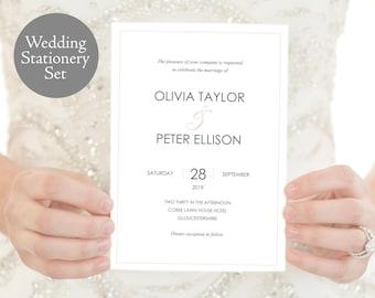 Wedding Invitation Set, Olivia, Wedding Invitation Printable, Wedding Invitation Template, Wedding Template, PDF Instant Download, MM10-1