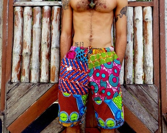 Colour Me Crazy // Mens Shorts // African print shorts // African patchwork // Hippie Shorts // Festival // Ethical // African clothing