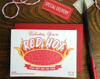 letterpress valentine you're red hot greeting card ou set me on fire red hot candies