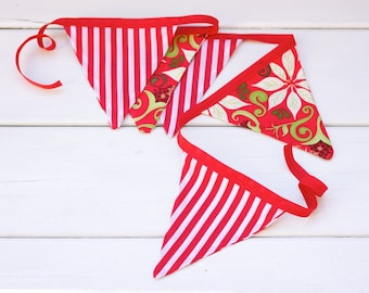 "Christmas Good Will Bunting ""Candy Cane and Winter Forest"""