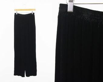 Vintage 90's Kamellia By Desire Woman's size MEDIUM Black Velvet Lightweight High Elastic Waist Wide Leg Retro Pants