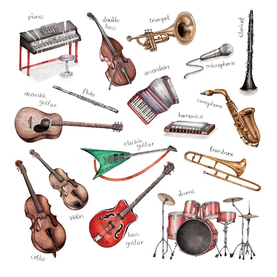 Wild image in printable pictures of musical instruments
