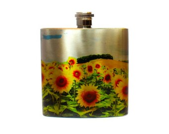 Gift For Girlfriend Sunflower Stainless Steel Flask / Bridesmaid Flask / California Sunflower Gift / Flask for Women Floral