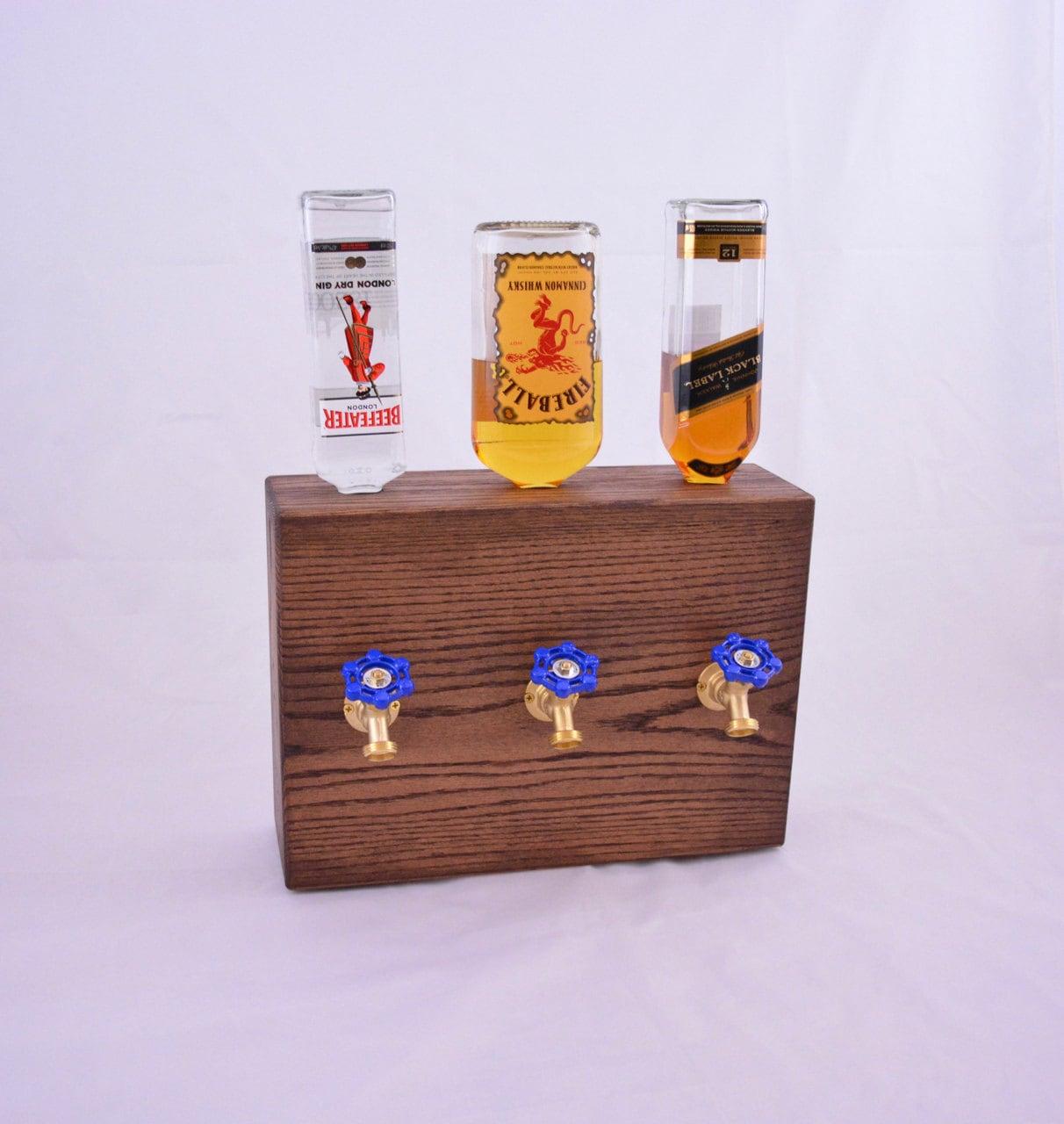 3 Bottle Wood Liquor Dispenser