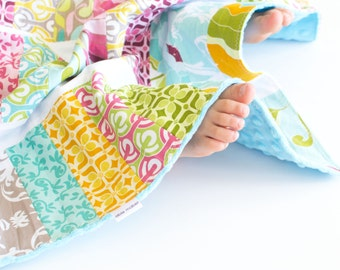 Patchwork Baby Girl Blanket, Halle Rose Patchwork Jelly Roll Blanket with Minky