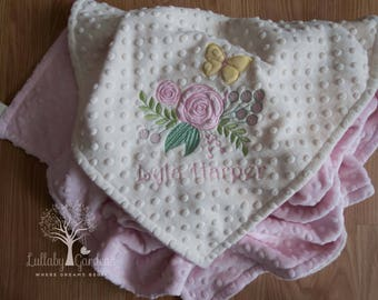 Personalized Minky Baby Blanket, Floral Appliqued Blanket, Shabby Elegant Minky Blanket, Personalized Baby Gift, Baby Girl Blanket