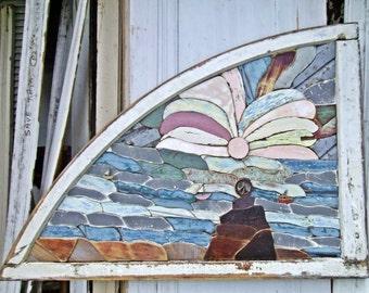 Reclaimed Wood Art, Peace Beach San Diego Reclaimed Wood Mosaic Art, Recycled Wood Art, Wood Wall Art, Mosaic Wall Art, Coastal Decor