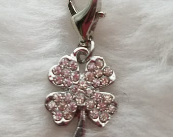 Petite Crystal Four Leaf Clover Shamrock Charm - Clip-On - Ready to Wear