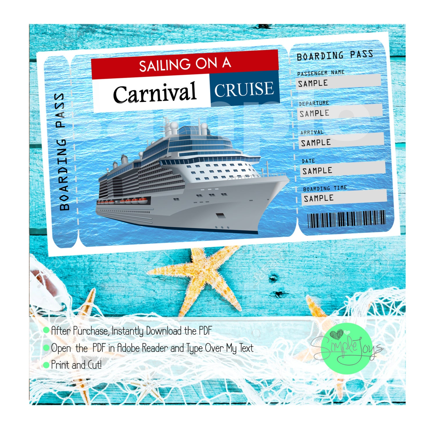 Carnival cruise printable ticket boarding pass customizable zoom pronofoot35fo Images