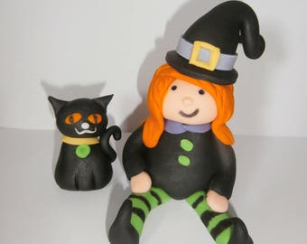 Edible Halloween witch and cat cake topper,decoration,sugar paste