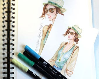 Summer Fashion Print, Fashion Sketch Wall Art, Fashion Art, Chic Wall Art, Summer Hat Art, Dressing Room Art, Girly Art Fashion Illustration