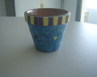 IN STOCK - Terracotta Pot mosaic enamels of briare galapagos blue, yellow, brick