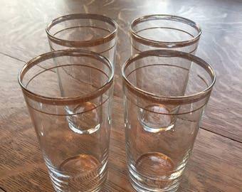 Set of 4 Vintage Libbey glasses with gold trim