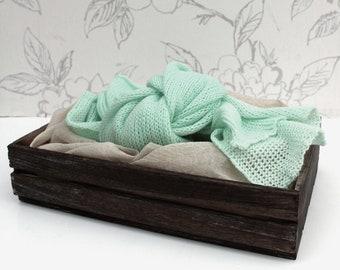 Green Mini-Blanket, Mint Green Knit Wrap, Knit Layer, Newborn Photography Prop, Stretchy Wrap