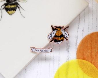 Ernie the Bee bumblebee Enamel Pin set | White Tailed Bumblebee | Bee Pin