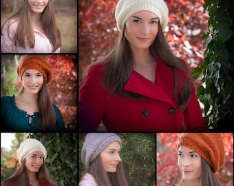 Loom Knit Beret PATTERNS, Painters Beret, Actually Love Beret, Cable Brim Beret. 3 PATTERNS included. PDF Download.