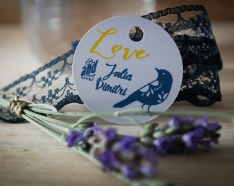 30 labels custom wedding - 3.5 cm