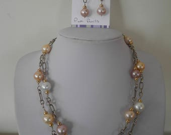 Champagne pearls with gold and silver--double strand