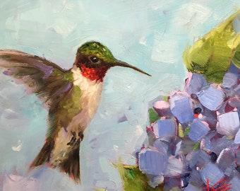 Hummer & hydrangea, original, painting, krista eaton, bird, oil, on gesso board, hummingbird, hydrangea, blue