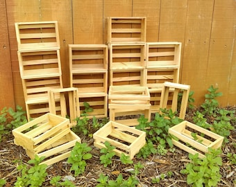 "Set of 6 Small Wooden Crates/ 4.75"" x 6.75"" x 2""/ Rustic Wedding Decor/ Event Gift Basket/ Garden Storage/ Organization/ Farmhouse Crafts"