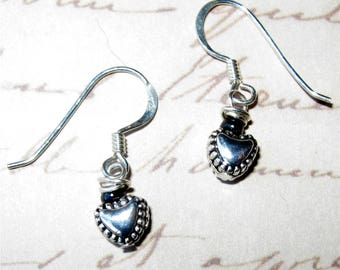 Silver plated 6mm Heart Drop Earrings with Sterling Silver Earring Wires