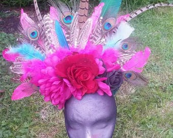 Feather and flower headdress