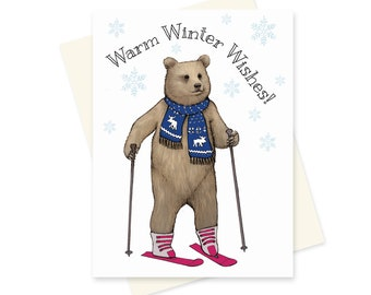 Bear Christmas Card. Winter Season Card. Ski Holiday Card. Funny Christmas Card. Skiing Bear. Animal Card. Warm Wishes. Cute Bear Greeting.