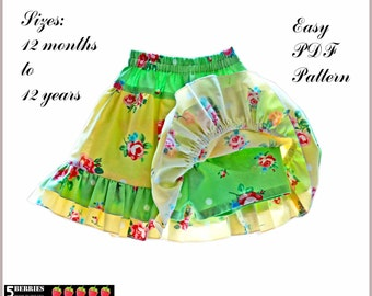 Isabella Twirl SKORT Skirt SHORTS Girls Sewing Pattern PDF+ Free Mother-Daughter Apron Pattern , Children, Baby, Toddler, 5Berries