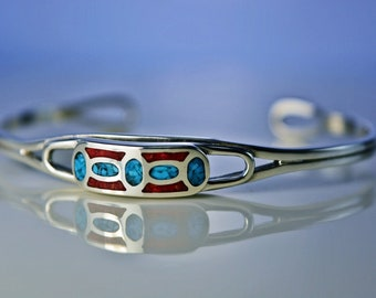 Sterling Silver cuff style bracelet w/ inlaid Kingman Turquoise and Red Coral