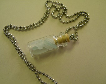 Clear Sea Glass in a Bottle Necklace