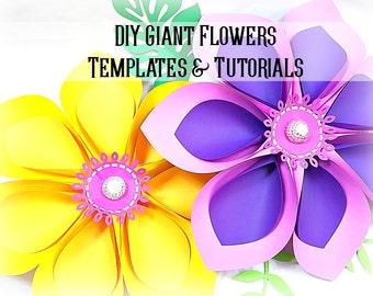 Giant Hawaiian Paper Flower Templates & Tutorial- Paper Flower SVG Cutting Files- Flower Wall- Giant Flower Backdrop