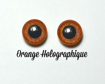 Eyechips 13 mm - Coloris Orange Holographique Taille Pullip Modèles Récents