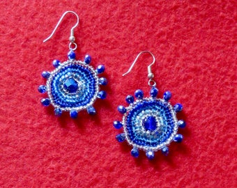 Circular Blue Dangling Earrings