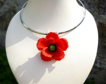Red poppy jewelry etsy poppy necklace red poppy pendant poppy jewelry red poppy pendant red poppy necklace choker poppy red mightylinksfo Choice Image