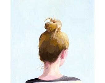 "5x7"" hair art - bun print - ""Top Knot 25"""
