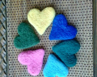 10cm Wool Felt Hearts Mix and Match, Assorted Colors, Wool Felted Hearts, Felt Balls in Bulk, Red Felt Heart Pom Poms, Jumbo Felt Heart
