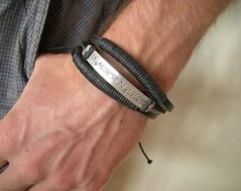 GPS coordinates bracelet, Mens bracelet leather, Wrap bracelet, Gift for Him, Bracelet Men, Rustic Cotton Leather wrap