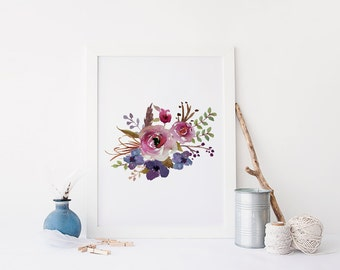 Floral Wall Art Printable Print Flower Watercolor Shabby Chic Decorboho Decor