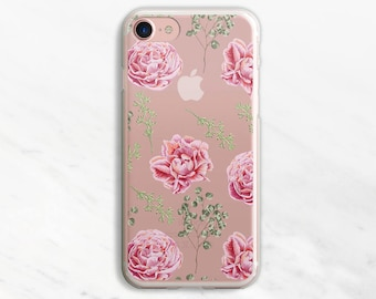 Pink Flowers iPhone 7 Case Clear iPhone 6 Case Clear iPhone 6 Plus Case Clear iPhone 7 Plus Case Clear iPhone Case Clea