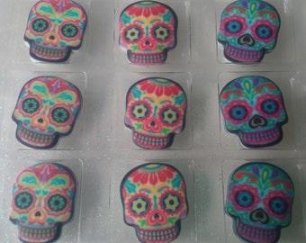 12 EDIBLE SUGAR SKULL cupcake cookie topper birthday Sugarsoft brand cake party rings soft Dia De Los Muertos Day of the Dead fiesta Coco